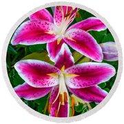 Stargazer Oriental Lilies Round Beach Towel