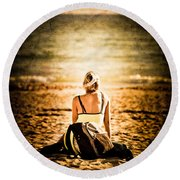 Staring At The Horizon Round Beach Towel