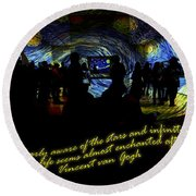 Staring At The Starry Night In The Moma Round Beach Towel