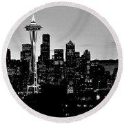 Stark Seattle Skyline Round Beach Towel