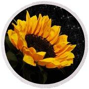 Starlight Sunflower Round Beach Towel