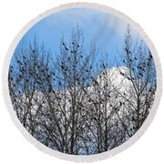 Starlings In The Cottonwoods Round Beach Towel