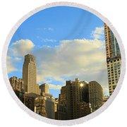 Manhattan Skyline Here Comes The Sun Round Beach Towel by Dan Sproul