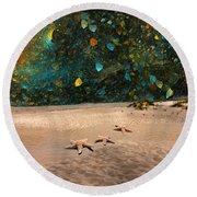 Starry Beach Night Round Beach Towel