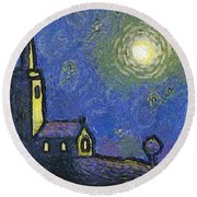Starry Church Round Beach Towel by Pixel Chimp