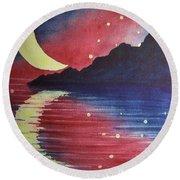 Starry Lake Round Beach Towel