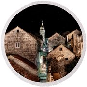 Starry Night Above The Rooftops Of Korcula Round Beach Towel