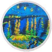 Starry Night Bridge Round Beach Towel