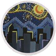 Starry Night Cityscape Round Beach Towel