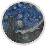 Starry Night Copy 8 Round Beach Towel