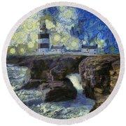 Starry Hook Head Lighthouse Round Beach Towel