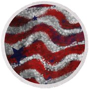 Starry Stripes Round Beach Towel