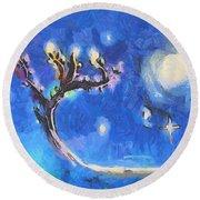 Starry Tree Round Beach Towel by Pixel  Chimp