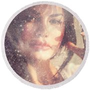 Starry Woman. Day Dreamer Round Beach Towel