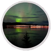 Stars And Northern Lights Over Dark Road At Lake Round Beach Towel