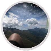 Stars And Planets In A Valley Round Beach Towel