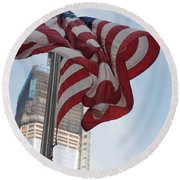 Stars And Stripes And 1 W T  C Round Beach Towel