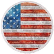 Stars And Stripes With States Round Beach Towel