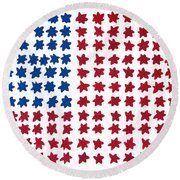Stars No Stripes Round Beach Towel