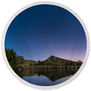 Stars Reflect In Cawfield Quarry Round Beach Towel