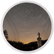 Stars Trails Over Cemetery Round Beach Towel