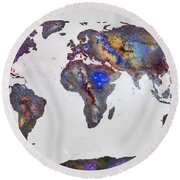 Stars World Map Round Beach Towel