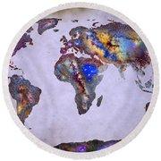 Stars World Map Space Round Beach Towel