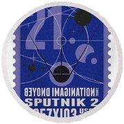 Starschips 21- Poststamp - Sputnik 2 Round Beach Towel
