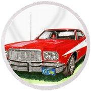 Starsky Hutch 1974 Ford Gran Torino Sport Round Beach Towel