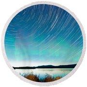 Startrails Aurora Borealis Display Lake Laberge Round Beach Towel