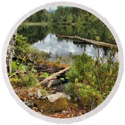 Starvation Lake Reflections Round Beach Towel