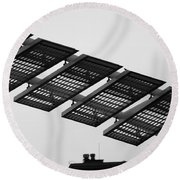 Starway To... In Black And White Round Beach Towel
