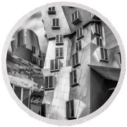 Stata Building 1 Bw Round Beach Towel