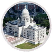 State Capitol Buildng Providence Rhode Island Round Beach Towel