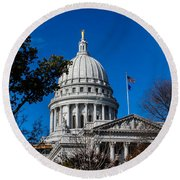 State Capitol In Madison Wi Round Beach Towel