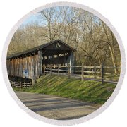 State Line Or Bebb Park Covered Bridge Round Beach Towel by Jack R Perry