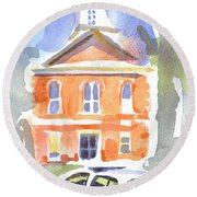 Stately Courthouse With Police Car Round Beach Towel