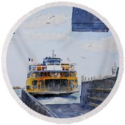 Staten Island Ferry Docking Round Beach Towel