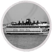 Staten Island Ferry In Black And White Round Beach Towel