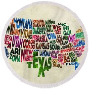 States Of United States Typographic Map - Parchment Style Round Beach Towel