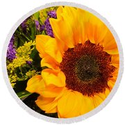 Statice And Sunflower Round Beach Towel