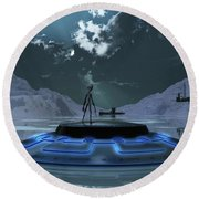 Station 211 Alien Nazi Base Located Round Beach Towel