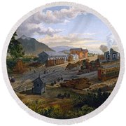 Station At Orizaba, 1878 Round Beach Towel