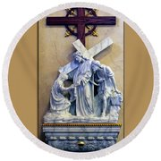 Station Of The Cross 06 Round Beach Towel