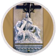 Station Of The Cross 07 Round Beach Towel