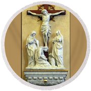 Station Of The Cross 12 Round Beach Towel