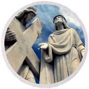 Station Of The Cross  Round Beach Towel
