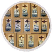Stations Of The Cross Collage Round Beach Towel