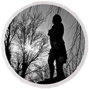 Statue At Dusk Round Beach Towel