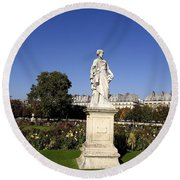 Statue At The Jardin Des Tuileries In Paris France Round Beach Towel